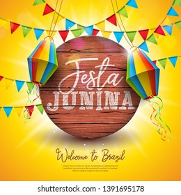 Festa Junina Illustration with Party Flags and Paper Lantern on Yellow Background. Vector Brazil June Festival Design for Greeting Card, Invitation or Holiday Poster