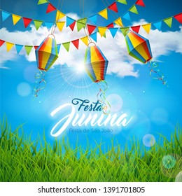Festa Junina Illustration with Party Flags and Paper Lantern on Blue Cloudy Sky Background. Vector Brazil June Festival Design for Greeting Card or Holiday Poster. Text saying Saint John's festival.