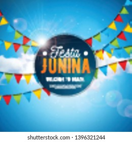Festa Junina Illustration with Party Flags and Typography Letter on Blue Cloudy Sky Background. Vector Brazil June Festival Design for Greeting Card, Invitation or Holiday Poster.