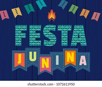 Festa Junina Latin American holiday. Festive party text flyer template. Traditional Brazil June folklore festival event colorful background. Fancy letters greeting, bonfire icon. Vector illustration