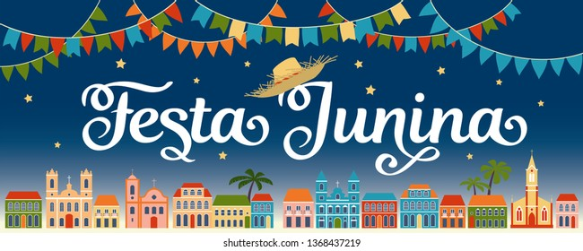 Festa Junina. Latin American holiday, the June party of Brazil. Design for header or banner.