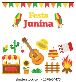 festa junina materiel in flat design with flags hat accordion guitar fire kite lantern corn cactus caramel apple fence and sunflower plant cake and stall  icons illustration