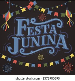 Festa Junina Old School Vintage Classic Font Lettering Background with Party Flags ,Paper Lantern and Firework. Brazil June holiday. Vector Banner - Illustration