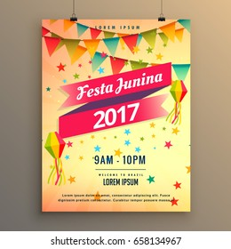 festa junina party celebration poster design with decorative elements