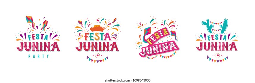 Festa junina party design set. Vector background with fireworks and garland. Vector illustration. For poster, card, web, invitation.