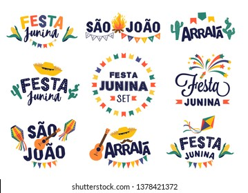 Festa junina party design set. Vector background with fireworks and garland. Vector illustration for poster, card, web, invitation.