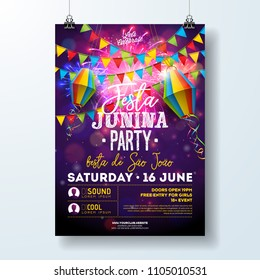 Festa Junina Party Flyer Illustration with Flags and Paper Lantern on Firework Background. Vector Brazil June Festival Design for Invitation or Holiday Celebration Poster.