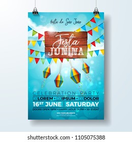 Festa Junina Party Flyer Illustration with typography design on vintage wood board. Flags and Paper Lantern on Blue Sky Background. Vector Brazil June Festival Design for Invitation or Holiday