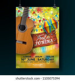 Festa Junina Party Flyer Illustration with Typography Design on Vintage Wood Board and Acoustic Guitar. Flags and Paper Lantern on Yellow Background. Vector Brazil June Festival Design for Invitation
