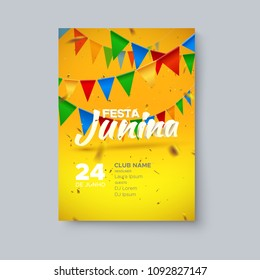 Festa Junina party poster. Vector holiday illustration. 3d text and bunting flags on yellow and orange background with confetti tinsel. Brazilian or Portuguese festive event. Party invitation poster