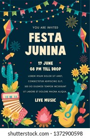 Festa Junina Poster Brazil June Festival. Folklore Holiday. Guitar Accordion Cactus Summer Sunflower Campfire - Ready to Print - Vector Illustration - Vector