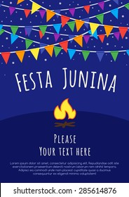 Festa Junina poster with colorful flags and bonfire.