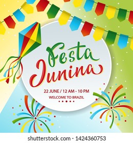 Festa Junina poster design. Lettering text June party in Brazilian. Brazil tradition harvest festival. Vector colorful template with festival fire, paper lantern and garland.