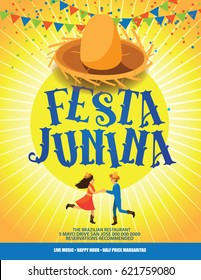 Festa Junina poster or marketing design for the Brazilian holiday of the June (Junina) festival (Festa) celebrating the nativity of St. John the Baptist. EPS 10 vector.