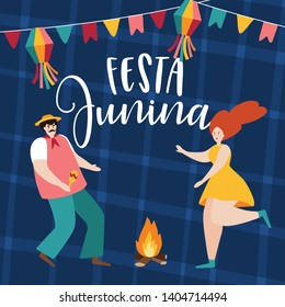 Festa junina, Sao Joao holiday. Brazilian june party greeting card, invitation. Man and woman dancing around fire. Party decoration, bunting flags. Hand drawn vector illustration background.