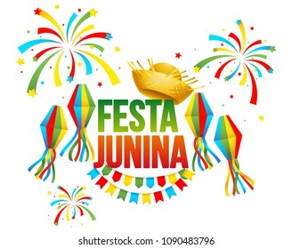 Festa Junina - text in Brazilian means June party. Festa Junina Brazil Festival. Folklore holiday. Festival fire. Vector illustration.
