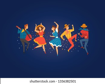 Festa Junina, Traditional Brazil June Festival, Happy People Dancing at Night Folklore Party Vector Illustration