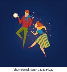 Festa Junina Traditional Brazil June Festival, Happy Couple Dancing at Folklore Party with Tambourine Vector Illustration
