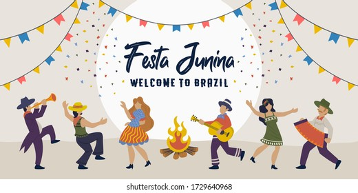 Festa Junina. Vector Brazilian Traditional Celebration. People dancing with bonfire, man and woman dance. Latin American holiday, the June party of Brazil. Festive illustration template banner.