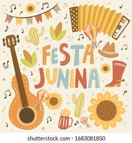 Festa Junina! Vector cute illustration of Brazilian Latin American festival. Set of guitar, garland, flashlight, accordion, sunflower and isolated objects. Drawings for banner, card, poster, postcard