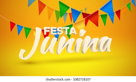 Festa Junina. Vector holiday illustration. 3d text on yellow and bunting flags on orange background. Brazilian or Latin american festive event. Party invitation poster