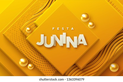 Festa Junina. Vector holiday illustration. Abstract background with orange geometric planes textured with golden patterns and spheres. Brazilian festive event. Party invitation poster