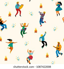 Festa Junina. Vector seamless pattern with dancing men and women in bright costumes. Latin American holiday, the June party of Brazil.