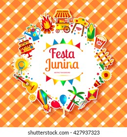 Festa Junina village festival in Latin America. Icons set in bright color. Festival style decoration.