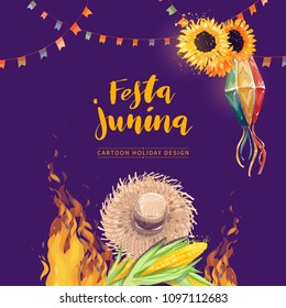 Festa Junina watercolor vector greeting card design. Brazil June festival celebration hand drawn colorful illustration with traditional elements like straw hat, corn, sunflower, party flags, lantern.