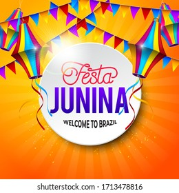 Festa Junina Welcome to Brazil with element and isolated yellow background