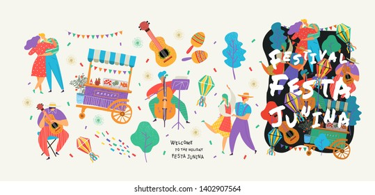 Festa Junina,Set of vector illustrations for poster, abstract banner, background or card for the brazilian holiday, festival, party and event, drawings of dancing cheerful people, musicians and shop