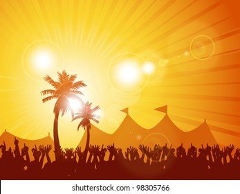 Festival background with crowd and palm trees at sunset