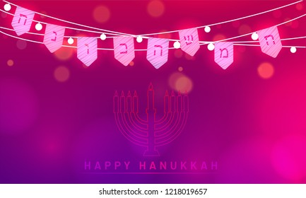 Festival celebration concept, traditional menorah (Candelabrum) and party flags decorated glossy blurred background for Happy Hanukkah Festival.