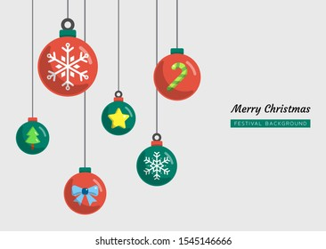 festival celebration set concept, christmas, new year, ball, color flat background, Isolated vector design