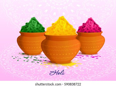 Festival of Colors. Happy Holi! Banners with traditional mud pots with full of colours, watercolor splashes. Rainbow. Creative flyer, greeting cards. Holiday of spring. Indian Fest Party celebration