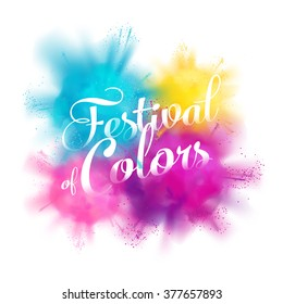 Festival of colors vector design element with realistic volumetric colorful Holi powder paint clouds and sample text. Ideal for banners, invitations and greeting cards