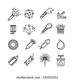 Festival dynamite, party fireworks, festive spark, holiday pyrotechnic line vector icons. Set of pyrotechnic icon line style, illustration of dynamite, rocket and detonator.