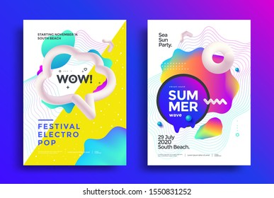 Festival electro pop poster layout. Music fest flyer design with gradient shape and decoration elements. Summer wave modern Cover design template.
