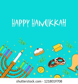 Festival elements decorated background with lettering of Happy Hanukkah for Jewish Holiday celebration.