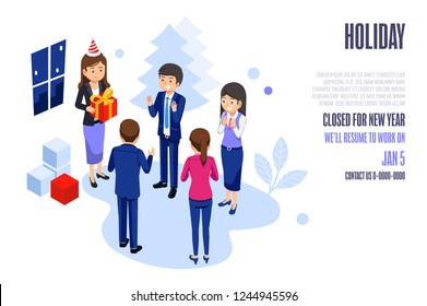 Festival events in the office. Basic welfare of worker. Company holiday web and poster design. Lady boss can takes care of her Employees.