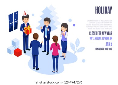 Festival events in the office. Basic welfare of worker. Company holiday web and poster design. Man boss can takes care of her Employees.