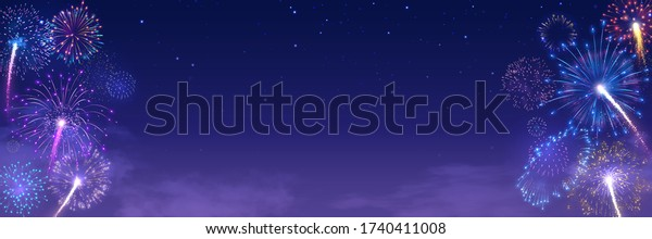 Festival fireworks frame. Bright crackers lights in starry night sky, firework banner and traditional celebration background vector illustration