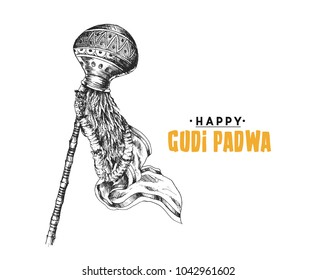 Festival Of Gudi Padwa Marathi New Year, Hand Drawn Sketch Vector illustration.