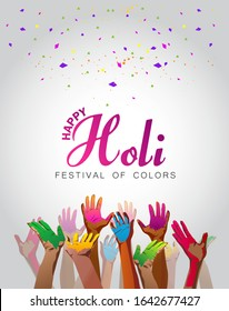 Festival Holi poster with a hands and bright paint on gray background. Vector illustration.