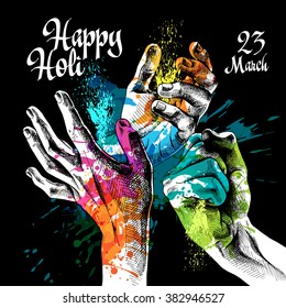 Festival Holi poster with a hands and bright paint on black background. Vector illustration.