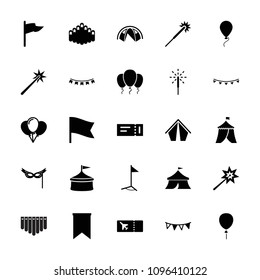 Festival icon. collection of 25 festival filled icons such as ticket, sparklers, flag, circus, balloon, tent, harmonica. editable festival icons for web and mobile.