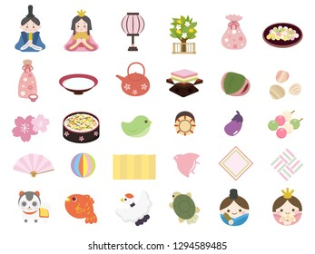Doll's festival icon set