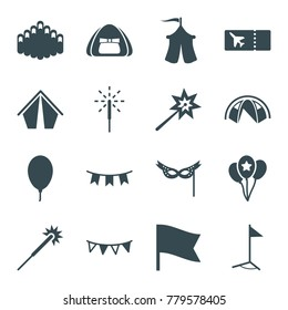 Festival icons. set of 16 editable filled festival icons such as sparklers, tent, harmonica, party flag, balloon, sparkler, mask, flag