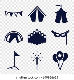 Festival icons set. set of 9 festival filled icons such as harmonica, party flag, sparkler, mask, balloon, tent