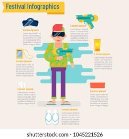 festival Infographic concept, Amazing Thailand Songkran-vector illustration